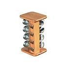 Porta spezie girevole in bambù con 8 vasetti in vetro