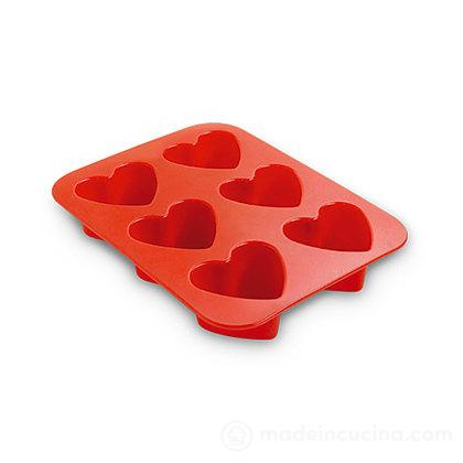 Stampi in silicone a forma di cuore a 6 cavit/à quadrate e 4 cavit/à a forma di cuore PUDSIRN fatti a mano per sapone cioccolato torte muffin