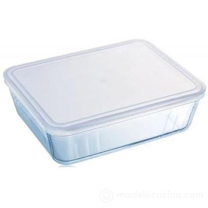 Contenitore Pyrex rettangolare 2,7 litri con coperchio bianco