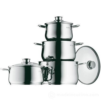 Batteria cucina Diadem Plus 4 pezzi in acciaio inox 18/10 completa di coperchi in vetro