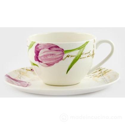 Tazza da caffè con piattino Seraphine Pink