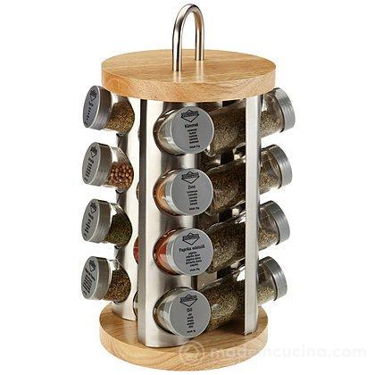 Portaspezie inox legno con 16 spezie