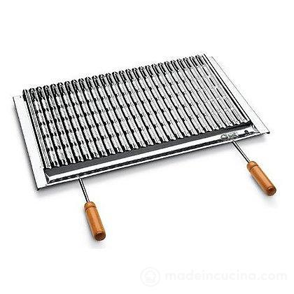 Griglia in acciaio inox con sgocciolatoio e manici in legno