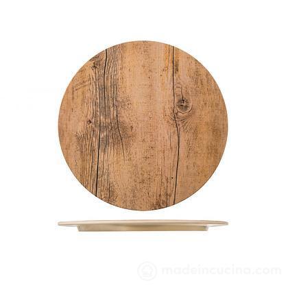 Piatto tondo in melamina effetto legno