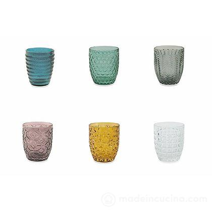 Set 6 bicchieri acqua colorati Geometrie