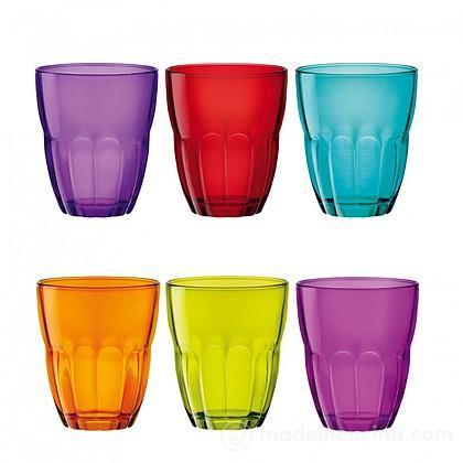 Set 6 bicchieri colorati ercole bormioli rocco for Bicchieri colorati vetro