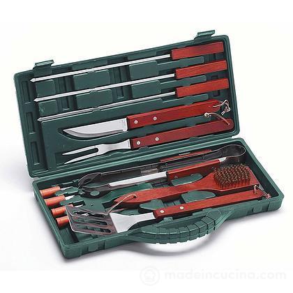 Valigetta con 12 utensili barbecue in acciaio inox
