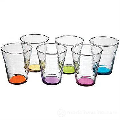 Set 6 bicchieri acqua con fondo colorato Vita