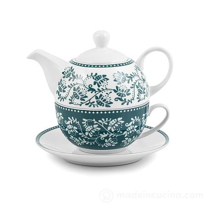 Teiera con tazza e piattino Tea For One Grace verde