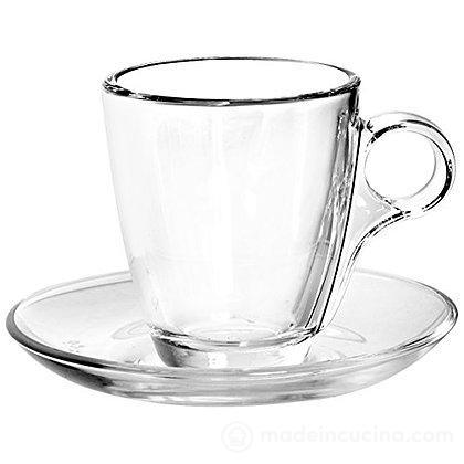 Set 6 tazzine da caffè marocchino con piattino in vetro Cherie