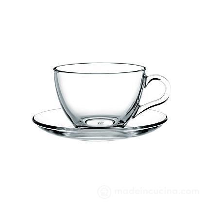 Set 6 tazze da tè con piattino in vetro Basic