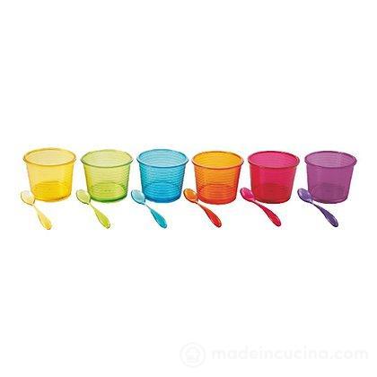 Set 6 coppette da gelato in policarbonato con cucchiaino Ice