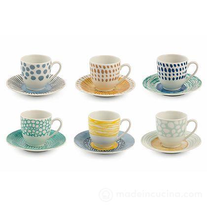 Set 6 tazzine da caffè con piattino Marea