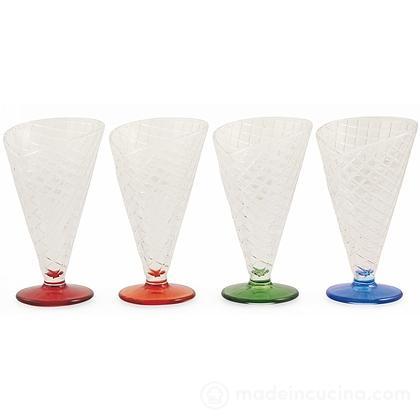 Set 4 coppe da gelato con piede colorato Cono