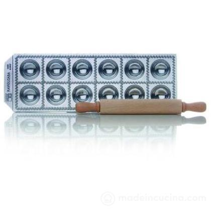 Stampo 12 ravioli in alluminio lucidato con mattarello