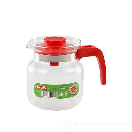 Bricco Pyrex con coperchio rosso litri 1