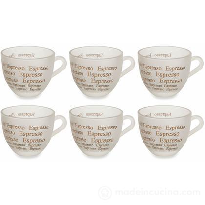 Set 6 tazzine da caffè in vetro satinato Espresso