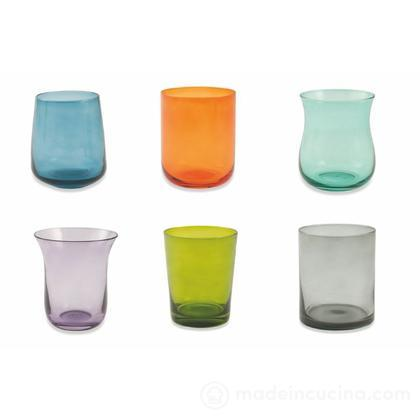 Set 6 bicchieri acqua colorati forme assortite Cromia