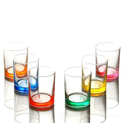 Set 6 bicchieri acqua con fondo colorato Swing