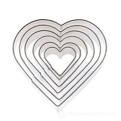 Set 6 tagliabiscotti cuore in acciaio inox