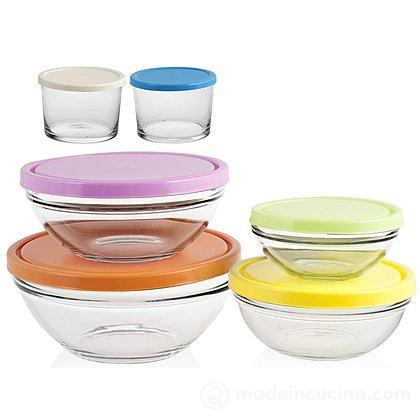 Set 6 contenitori tondi da frigo in vetro con tappi colorati