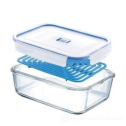 Contenitore rettangolare in vetro Pure Box con valvola Active e griglia