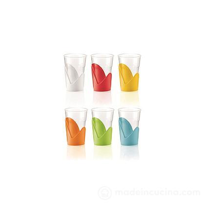 Set 6 supporti per bicchieri in plastica Forme (colori assortiti)