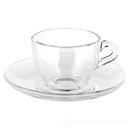Set 6 tazzine da caffè con piattino in vetro Basic