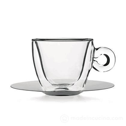 Set 2 tazzine da caffè in vetro termico con piattino in acciaio inox