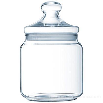Barattolo con coperchio in vetro trasparente