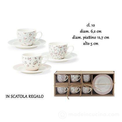 Set 6 tazzine da caffè con piattino Spring