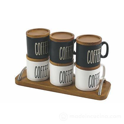 Set 6 tazzine da caffè con vassoio in legno Urban Kitchen