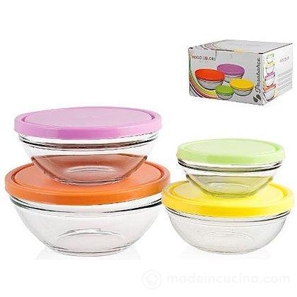 Set 4 contenitori per frigo con coperchio colorato - Pasabahce ...