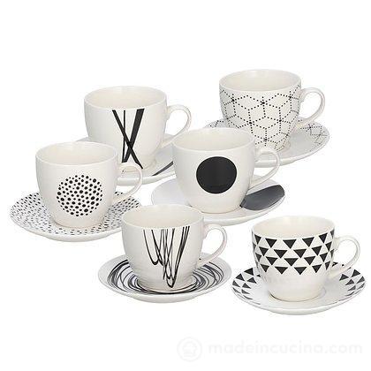 Set 6 tazzine da caffè con piattino Metropolis Graphic