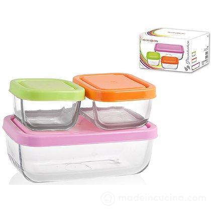 Set 3 contenitori rettangolari da frigo in vetro con tappi colorati