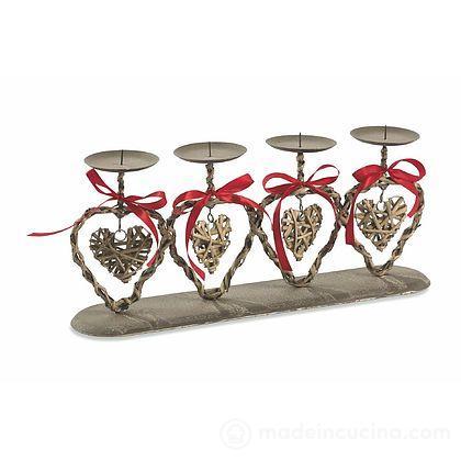Porta candela 4 posti cuore Shabby