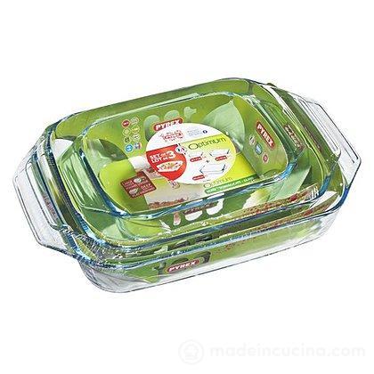Set 3 teglie in vetro borosilicato