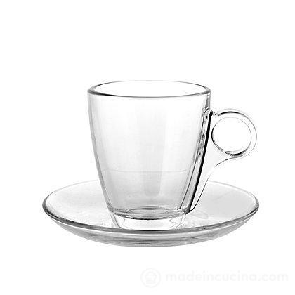 Set 6 tazzine da caffè con piattino in vetro Cherie